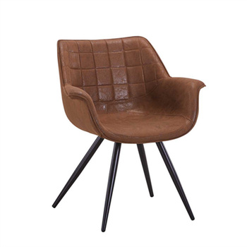 2018 Restaurant Home Furniture Luxury Low Back Leather Leisure Tub Dining Chair With Metal Legs