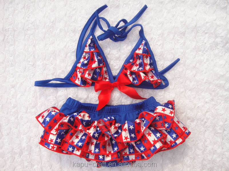 Ruffle 2 Two Piece Patriotic Toddler Baby Girl Bathing Suit