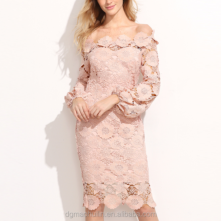 3c378eb4a325 wholesale women clothing fashion off shoulder knee length pink long sleeve tight  lace dress