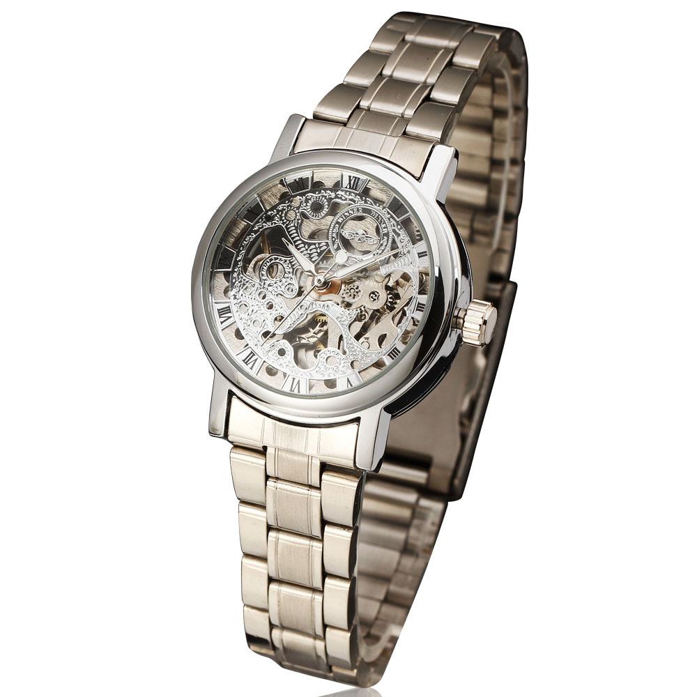 Золото скелет победитель механический self-ветер женщины женское бизнес нержавеющая сталь до запястья часы аналоговый часы reloj