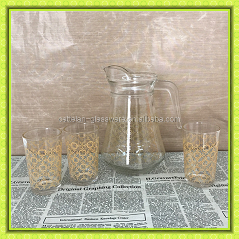 Pyrex Glass Water Jug Set With 4 Cups,High Quality Glass Pitchers ...