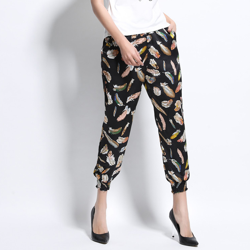 New Design Sexy Woman Trousers Bulk Wholesale White Leaves Printed Bloomers Pants Jogger Pants Factory Price