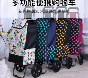 Foldable cheap hand cart folding three wheel shopping trolley