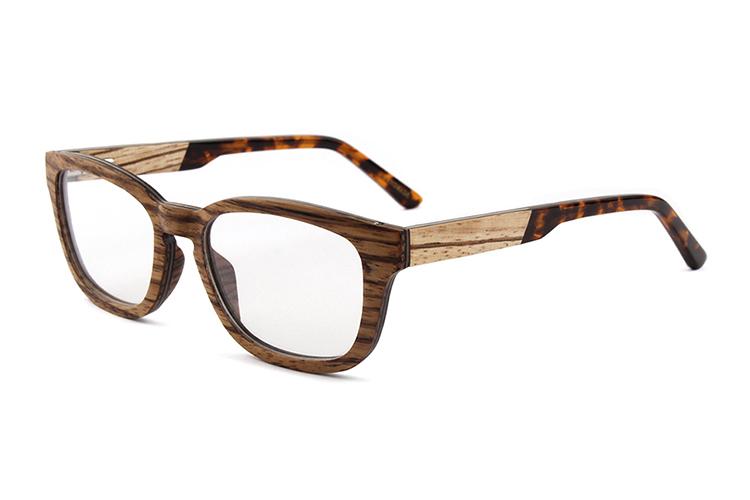 Zebra Wood Frame Tortoise Acetate Tips Cheap Eyeglasses