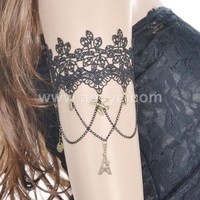 Simple style black lace wedding arm chain / charm arm bracelet