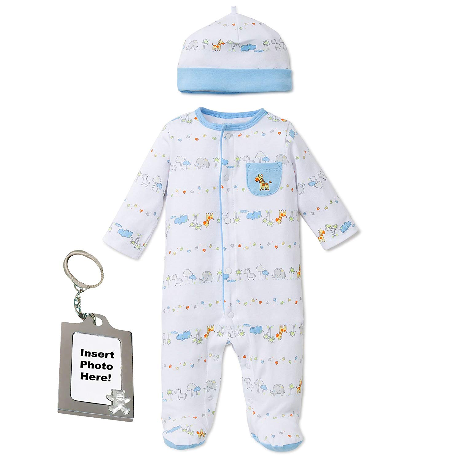 Get Quotations · Little Me Preemie Newborn Baby Footie Sleep and Play Pajamas  Footed Sleeper Hat for Boys and b4ec01e03