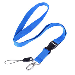 Wholesale China Custom Logo Plain Blank Blue Cheap Polyester Lanyard Neck Strap