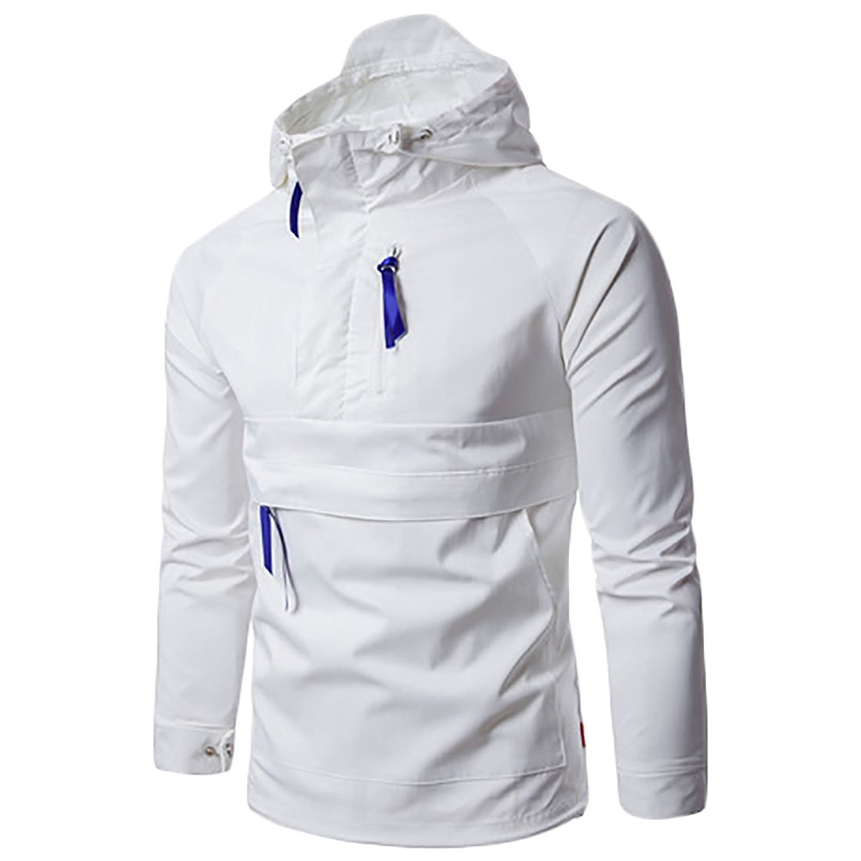 UUYUK-Men Fashion Solid Windproof Pullover Hoodies Jackets Coats