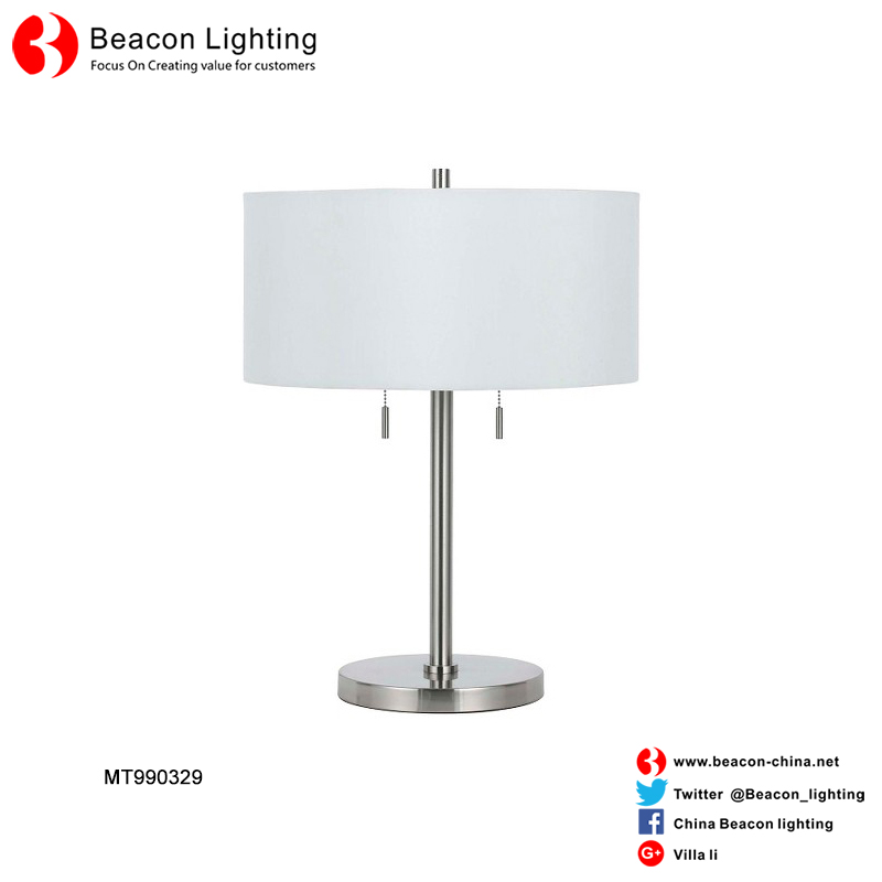 Engineering custom-made round fabric shade hotel table lamp reading lights for hotel rooms with USB port outlet