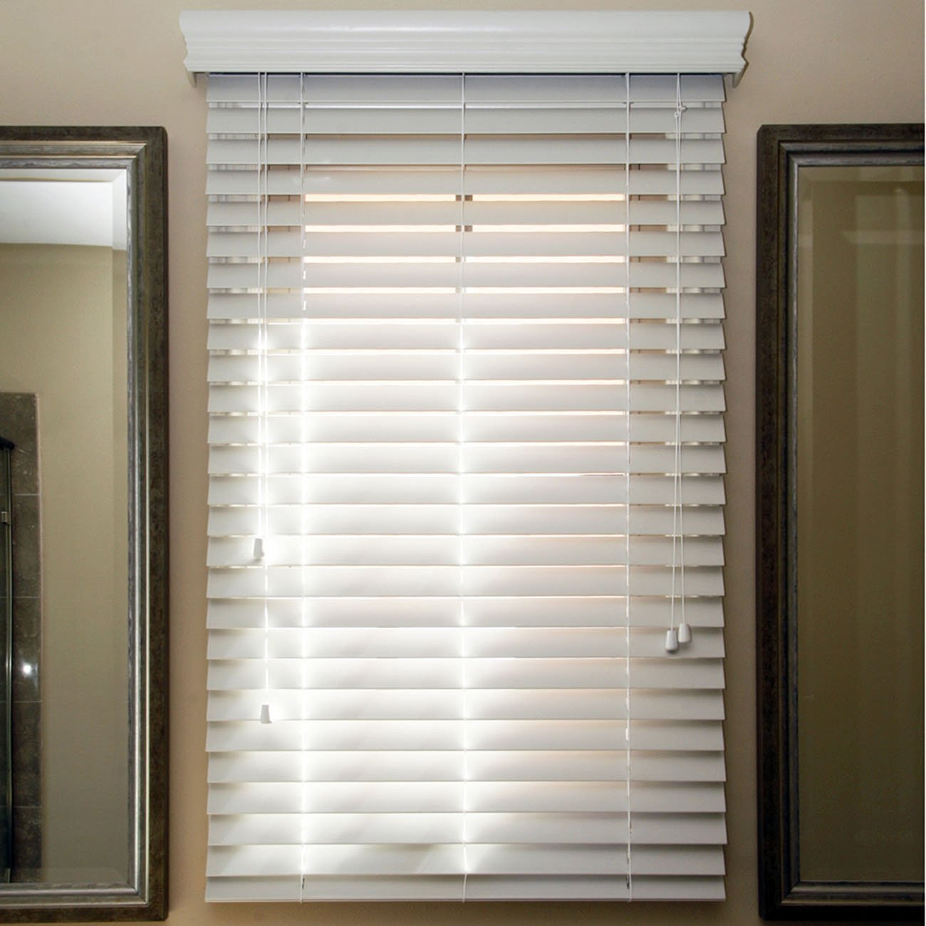 """Chicology Faux Wood Blind, Realistic Wood Look, Sugar White (White), 23""""x64"""""""