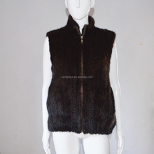 SJ903-02 Stock Hot Sale Thick Brown Fur Woman Knitted Mink Fur Gilet
