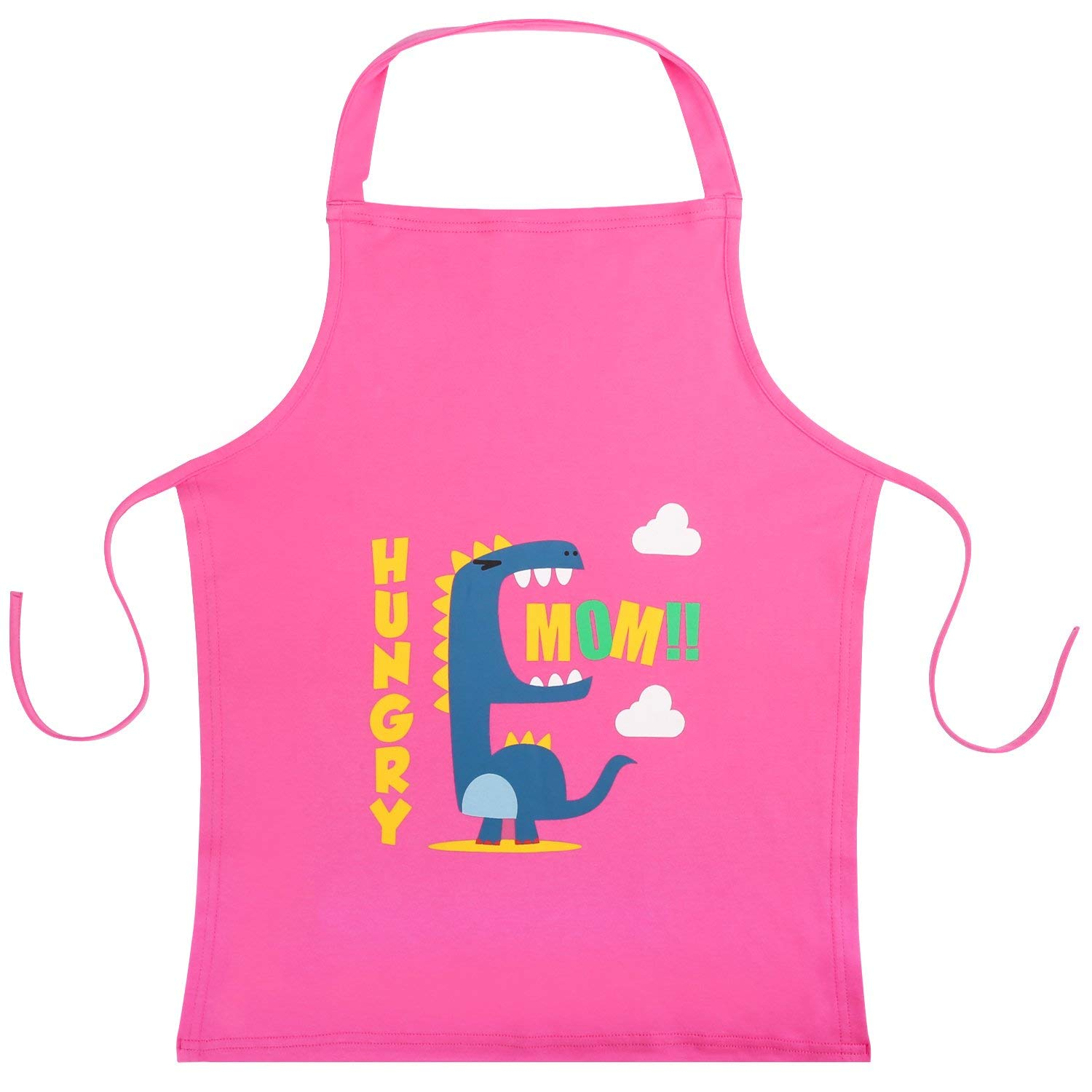 "Nuovoware Kids Apron, Cute Cartoon Cotton Child Smock Reusable Small Apron 22"" x 18"" for Cooking, Painting, Crafts and Classroom - Pink"
