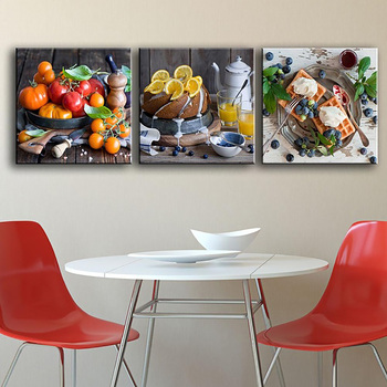 Framed Canvas Painting Poster For Living Room 3 Panel Delicious Fruit And Food Wall Art for Home Decoration