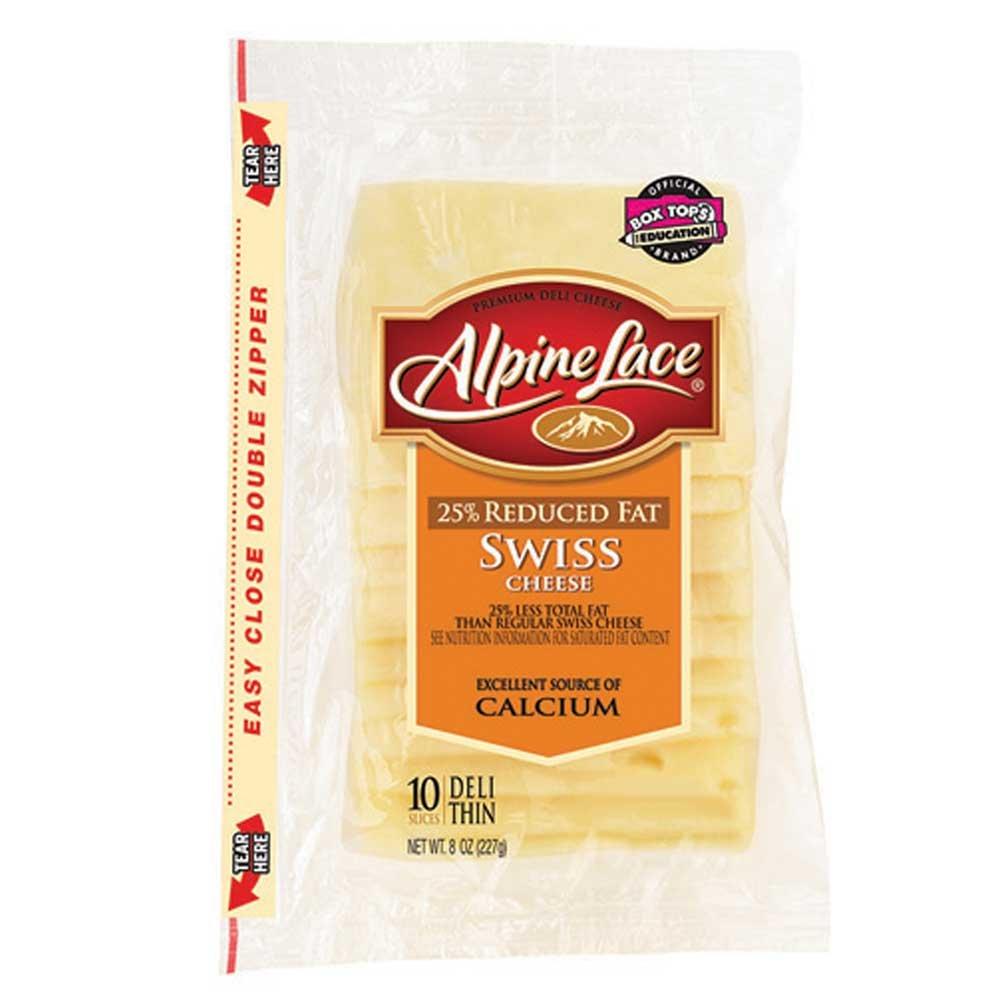 Land O Lakes Alpine Lace Swiss Deli Cheese Slice, 8 Ounce -- 12 per case.