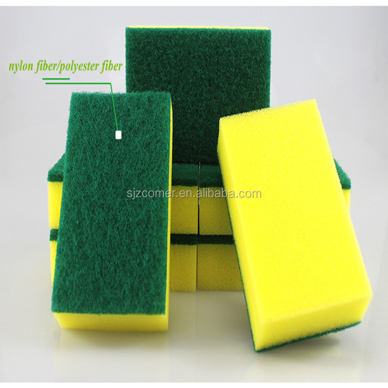 green scrubber scouring sponge pad for washing dishes with low price / sponge scouring pad