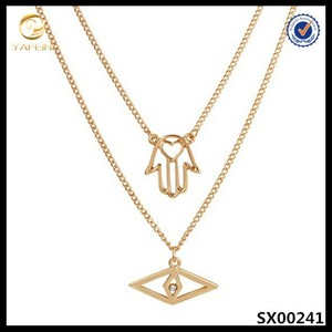 "2 pieces goldtone modern evil eye & hamsa with heart pendant,18"" adjustable link necklace"