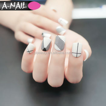 Black White Strips Full Cover Fake Nails Metallic Artificial False Nail Tips New Designs