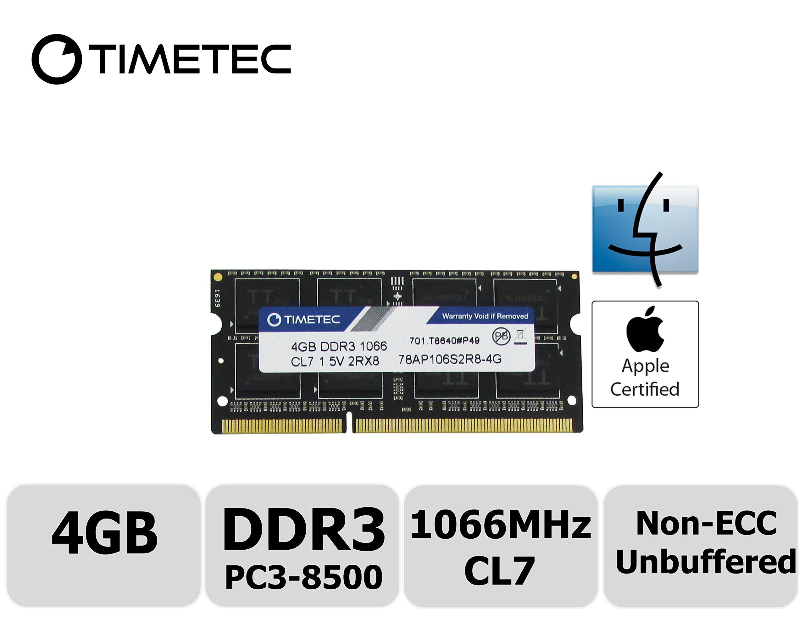 Timetec Hynix IC Apple 4GB DDR3 PC3-8500 1066MHz memory upgrade for iMac 21.5-inch/27-inch/20-inch/24-inch, MacBook Pro 17-inch/ 15-inch/ 13-inch, Mac mini (4GB)