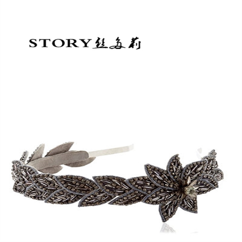 2018 European Korean Japan fashion rhinestone OBLIVION EMBELLISHED beaded FLOWER HEADBAND women's hair decoration accessories
