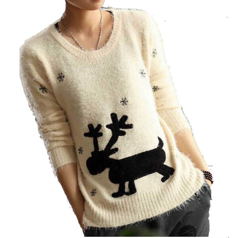 Get Quotations · 2015 Autumn Winter Fashion New Design Deer Pattern  Snowflake Embroidery Cute Scoop Neck Long Sleeve Pullover ff0055487