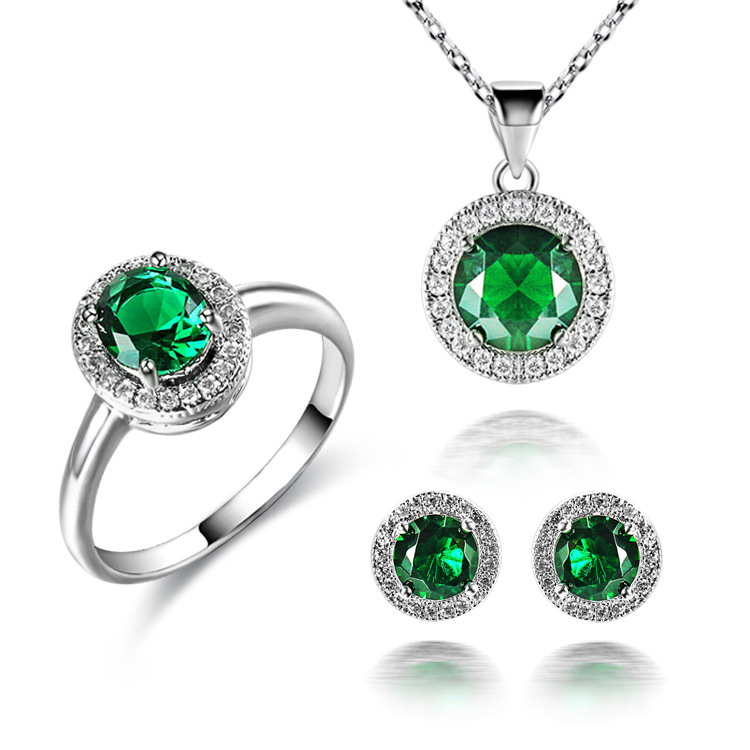 18 KGP Green Sapphire Cubic Zirconia CZ Crystal Pendant Necklace Earring Ring Bridal Set
