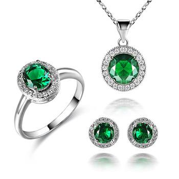 18 kgp green sapphire cubic zirconia cz crystal pendant necklace 18 kgp green sapphire cubic zirconia cz crystal pendant necklace earring ring bridal set aloadofball Choice Image