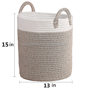 Wholesale Cotton Rope Two-Tone Color Woven Storage Baskets Large Woven Basket With handles