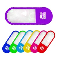New soft PP plastic oval shaped double side 5 inches printed scale rule led reading light bookmark children magnifying glass