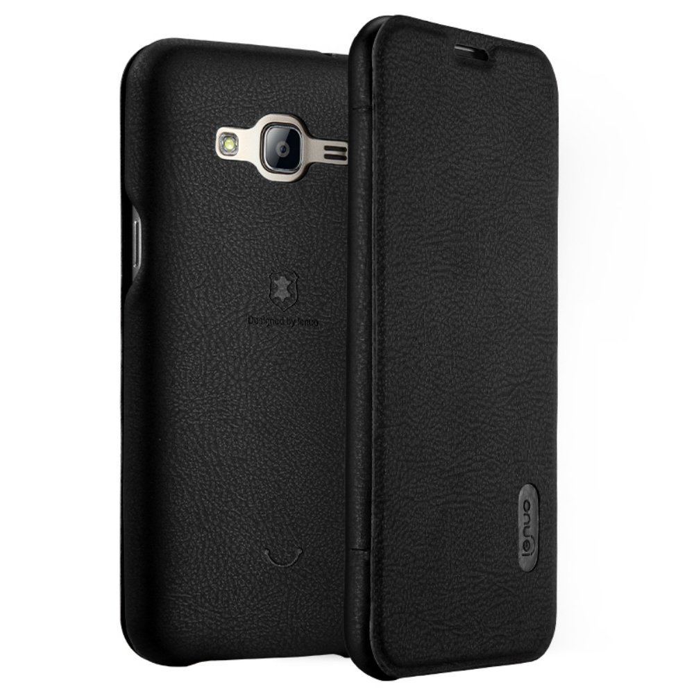 Samsung Galaxy J3 (2016) Leather Flip Case, SM-J320P Slim Folio Phone Cover w/ Card Slot (Black)