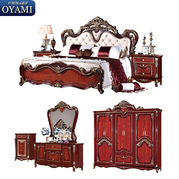 Cheap price king bed set carved italian style bedroom