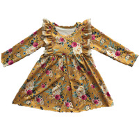 2019 Latest Design Children Long Sleeve Boutique Twirl Dresses Spring Fall Baby Floral Print Dress For Kids