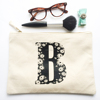 Hand printed cotton canvas brush bag for wash or make up