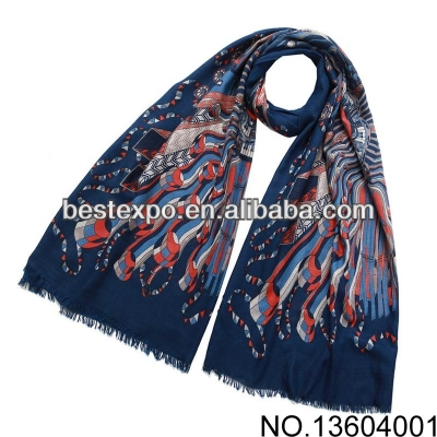 Blue twill printed scarf at the top of the city