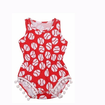 Yiwu Wholesale baseball Baby Girl Clothes Romper Kids Flutter Sleeve Body suit 95%Cotton Ruffled Soft Baby Onesie Wholesale