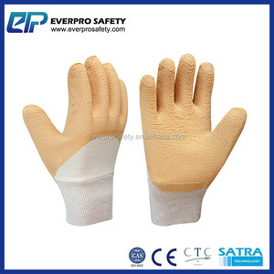 Economy Grade Rubber Coated Crinkle Finish Knit Wrist Gloves with Jersey Lining