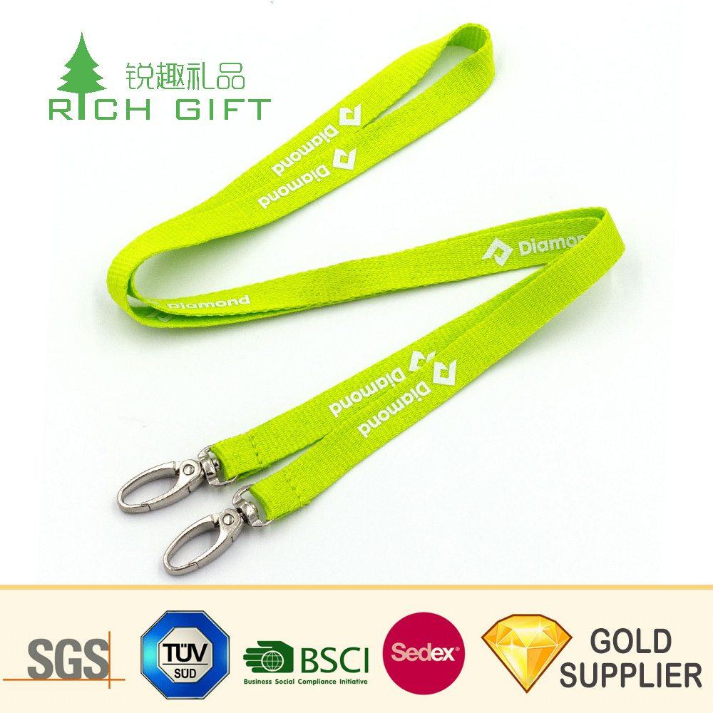 Hoge kwaliteit custom reflecterende logo knipperende glow in the dark lanyard met metalen haak