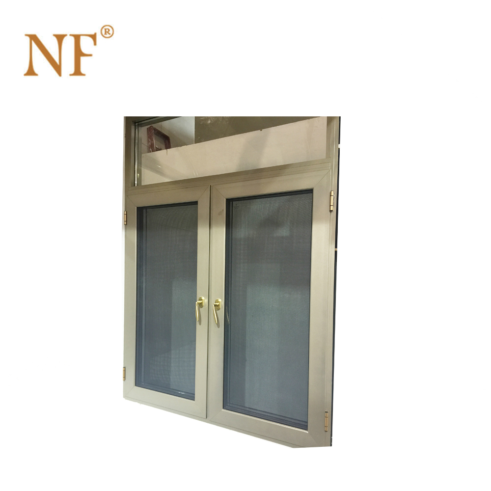 patio french aluminum swing out window with roller shutter