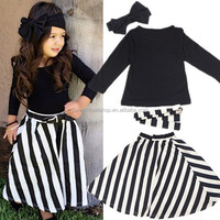 2017 New 4pcs Casual Plaid Girls Clothing Sets for Girls Kids with Blank Shirt+Skirt+Headband+Belt