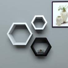 white corner honeycomb wood ornament floating shelf