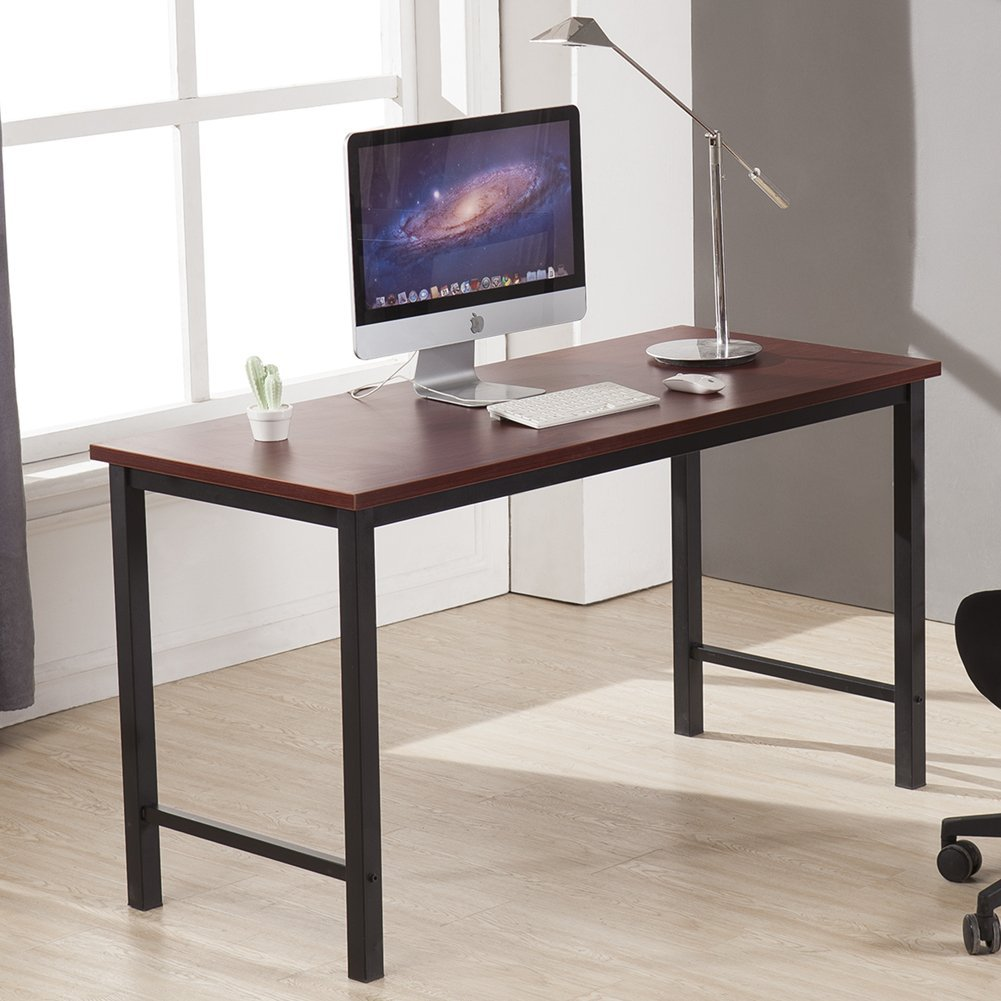 CUBOC 55 Inch Large Size Modern Computer Desk Long Office Desk Writing Desk, Workstation Table for Home Office, Black (Teak-2)