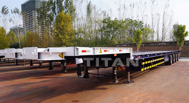 Hydraulic Steering Extendable Lowboy Trailer for Wind Blade Transport , windmill blade transport , windmill transport trailer