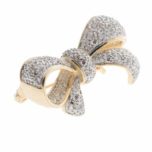 Gold Bowtie Princess Lady Brooches Cubic Zircon Bow Pins