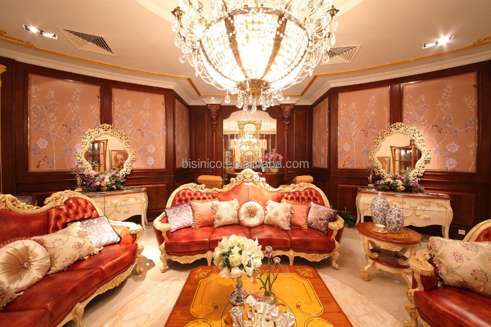 Luxury Solid Wood Red Leather Sofa,Royal Living Room Leather Sofa ...
