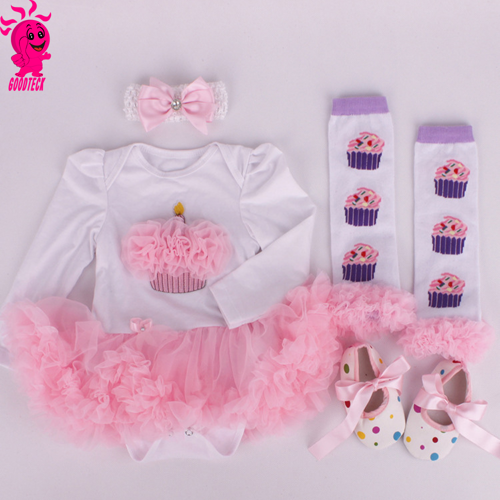 Christmas Carters Baby girl clothes Newborn baby Romper Tutu dress+headband+shoes+leggings 4pcs/set baby Romper set