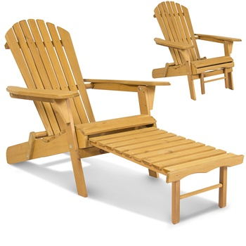Patio garden frog chair Wood Adirondack Chair with Ottoman