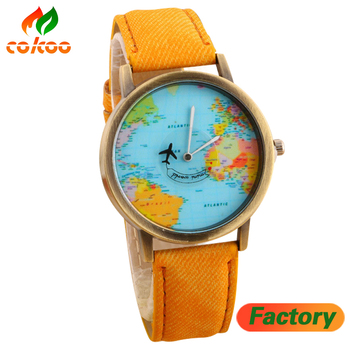 2016 Mini World Map Watch Jean Fabric Vogue Child Lady Leather Watch ...