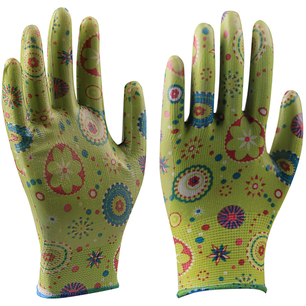 Seeway PU Coating Palm Green Leaves Printing Gardening and Household Gloves