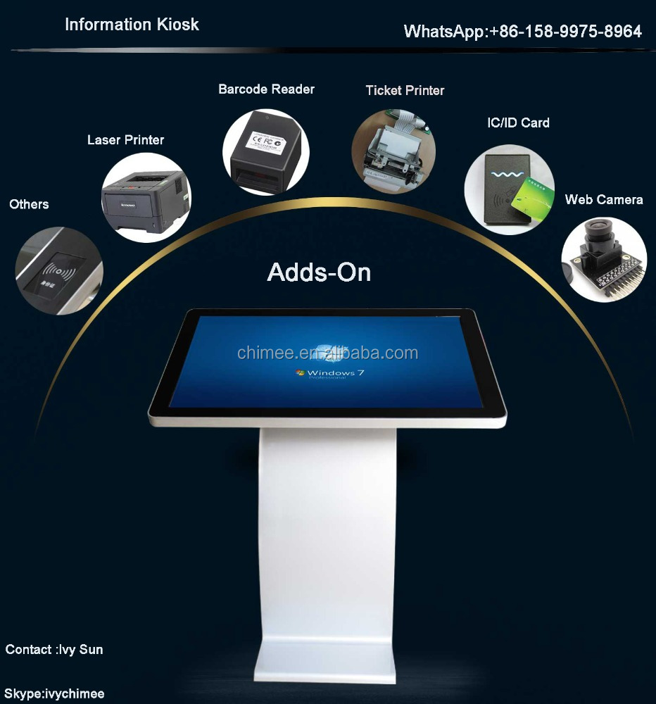 47 Inch interactive intel i3 i5 i7 3g Indoor Application and TFT Type wifi digital signage