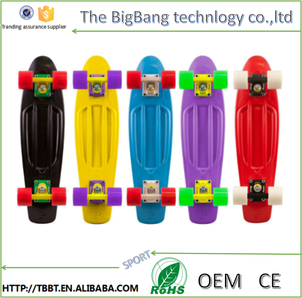 BIGBANG B-100 22 inch plastic PP banana deck skateboard with four wheels fish board pure color