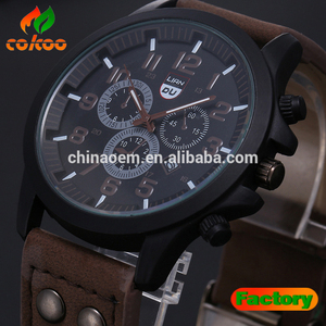2016 Sports Unique Design Men Watch Sport Watch with PU Leather Strap Analog Fashion